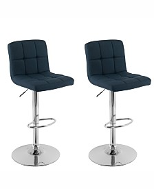 Corliving Mid Back Square Panel Fabric Adjustable Barstool, Set of 2