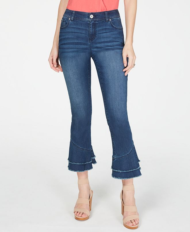 INC International Concepts INC Double-Ruffle Hem Curvy Ankle Jeans, Created for Macy's
