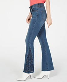 I.N.C. Petite Embroidered Boot-Cut Jeans, Created for Macy's