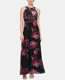 SL Fashions Floral-Printed Maxi Gown