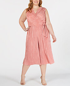 Connected Plus Size Pleated Cropped Jumpsuit