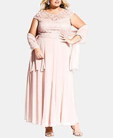City Chic Plus Size Elegance Top, Skirt & Shawl Set
