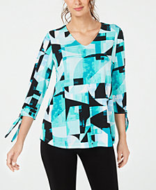 Alfani Printed Tie-Sleeve Top, Created for Macy's