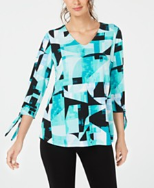 Alfani Printed Tie-Sleeve Top, Created for Macy's