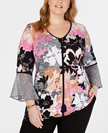 JM Collection Plus Size Mixed-Print Tunic, Created for Macy's