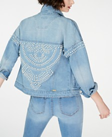 I.N.C. Cotton Embellished Denim Jacket, Created for Macy's