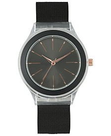 I.N.C. Women's Black Stainless Steel Mesh Bracelet Watch 38mm, Created for Macy's