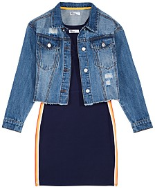 Epic Threads Big Girls Ribbed Dress & Cropped Denim Jacket, Created for Macy's