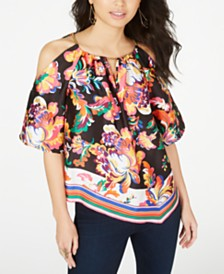 Thalia Sodi Printed Cold-Shoulder Top, Created for Macy's