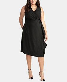 RACHEL Rachel Roy Trendy Plus Size Sleeveless Wrap Dress