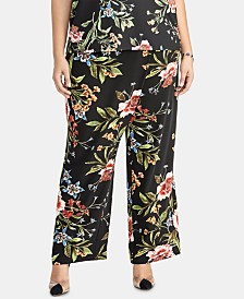 RACHEL Rachel Roy Trendy Plus Size Printed Wrap-Tie Pants