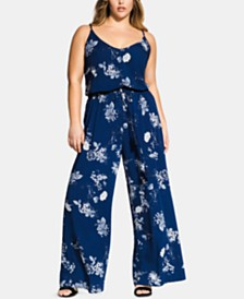 City Chic Trendy Plus Size Printed Wide-Leg Jumpsuit