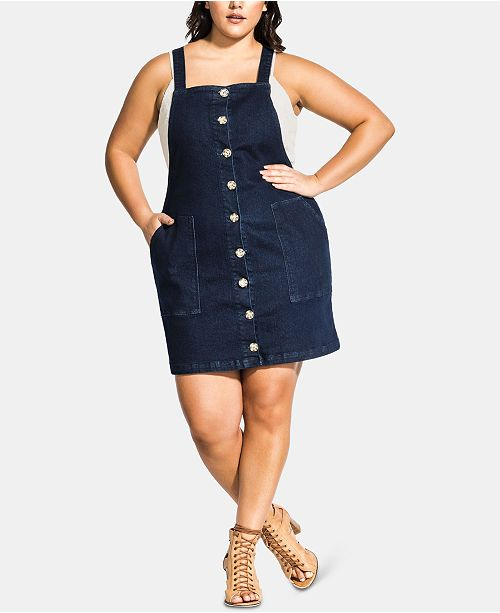 City Chic Trendy Plus Size Overall Mini Dress