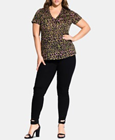 City Chic Trendy Plus Size Animal-Print T-Shirt