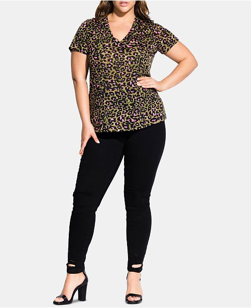 275b7cc27 City Chic Trendy Plus Size Animal-Print T-Shirt   Reviews - Tops ...