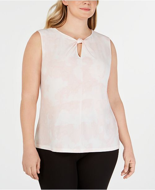 Nine West Plus Size Printed Keyhole Twist Blouse