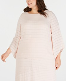 Alfani Plus Size Textured Tuck-Sleeve Top, Created for Macy's