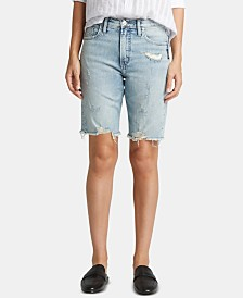 Silver Jeans Co. Frisco Raw-Hem Denim Shorts