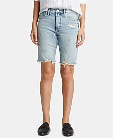 Silver Jeans Co. Frisco Raw-Hem Denim Shorts