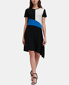 DKNY Colorblocked Asymmetrical-Hem Dress, Created for Macy's