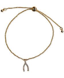 Kitsch Gold-Tone Pavé Wishbone Slider Bracelet