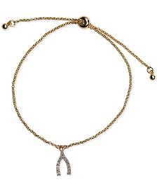 Kitsch 14k Gold Pavé Wishbone Slider Bracelet