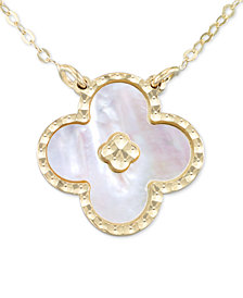 "Italian Gold Mother-of-Pearl Clover 18"" Pendant Necklace in 10k Gold"