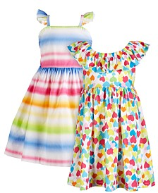 Blueberi Boulevard Baby Girls 2-Pk. Striped and Printed Dresses
