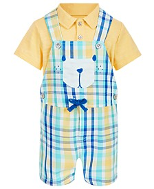 First Impressions Baby Boys 2-Pc. Polo & Plaid Bear Shortall Set, Created for Macy's