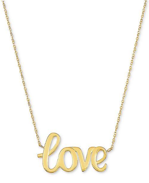 "Macy's Love 18"" Pendant Necklace in 10k Gold"