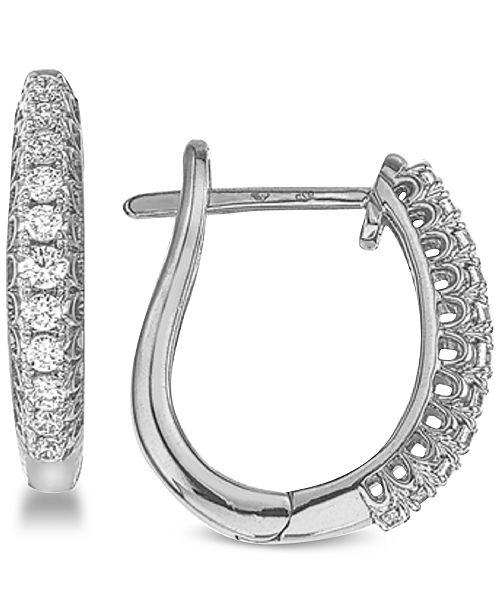 e8115e87c Macy's Diamond Hoop Earrings (1/4 ct. t.w.) in 10k White Gold ...