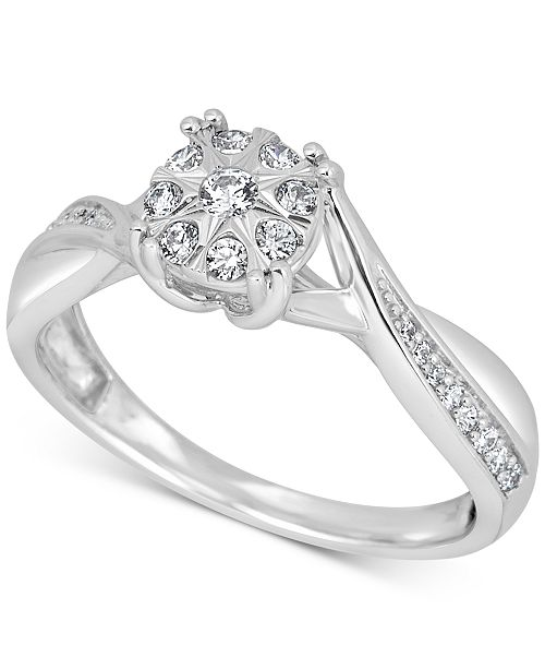 Macy's Diamond Cluster Promise Ring (1/4 ct. t.w.) in Sterling Silver