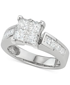 Diamond Princess Quad Cluster Engagement Ring (2-1/7 ct. t.w.) in 14k White Gold