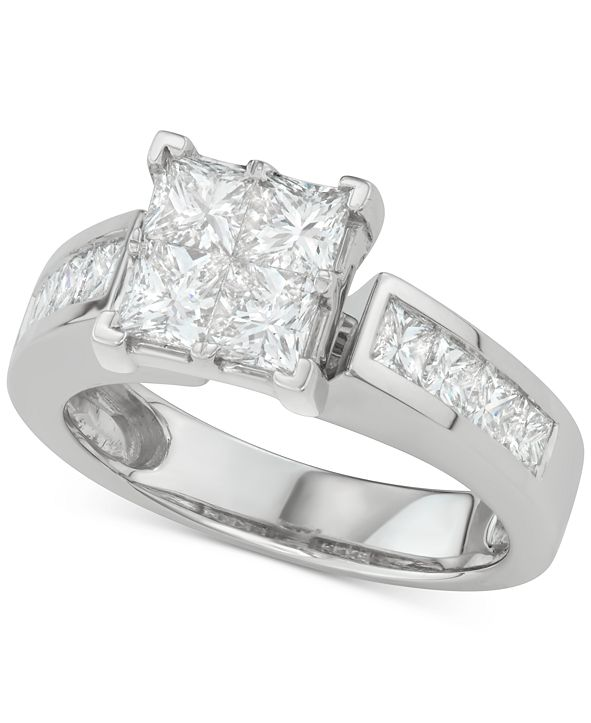 Macy's Diamond Princess Quad Cluster Engagement Ring (2-1/7 ct. t.w.) in 14k White Gold