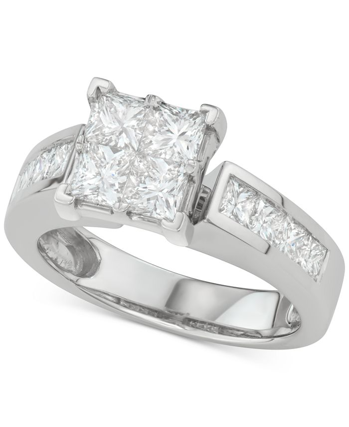 Macy's - Diamond Princess Quad Cluster Engagement Ring (2-1/7 ct. t.w.) in 14k White Gold