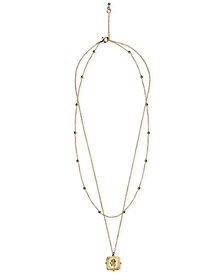 """Kitsch Gold-Tone Rose Pendant Layer Necklace, 18"""" + 1"""" extender"""