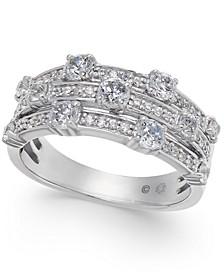Diamond Three Row Statement Ring (1 ct. t.w.) in 14k White Gold