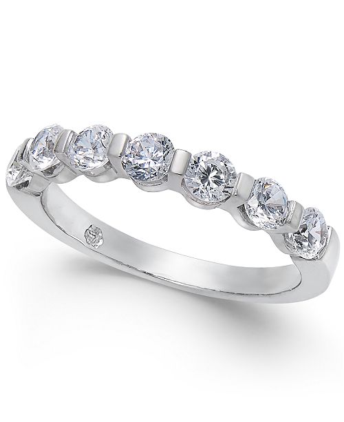 Macy's Diamond Station Band Ring (1 ct. t.w.) in 14k White Gold