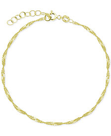 Singapore Link Ankle Bracelet in Sterling Silver