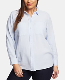 1.STATE Plus Size Cotton Gauze Shirt