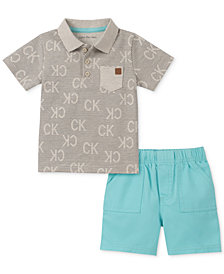Calvin Klein Baby Boys 2-Pc. Printed Polo Shirt & Twill Shorts Set