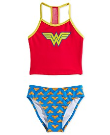 Dreamwave Little Girls 2-Pc. Wonder Woman Graphic Tankini