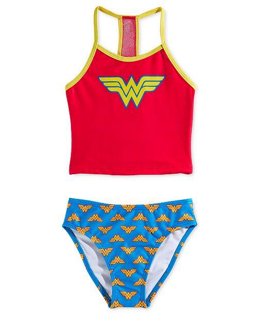 Dreamwave Little Girls 2-Pc. Wonder Woman Graphic Tankini