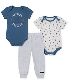 Nautica Baby Boys 3-Pc. Printed Bodysuits & Jogger Pants Set