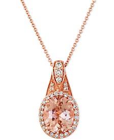 """Peach & Nude™ Peach Morganite (1-3/4 ct. t.w.) & Nude Diamond (1/3 ct. t.w.) 20"""" Pendant Necklace in 14k Rose Gold"""