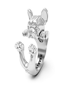 French Bulldog Hug Ring in Sterling Silver and Enamel