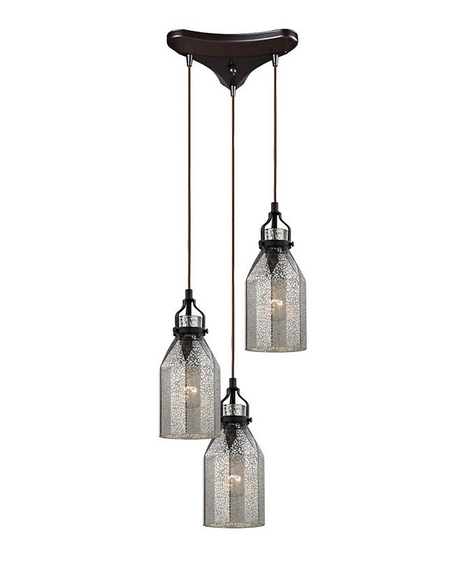 ELK Lighting Danica 3 Light Pendant in Oil Rubbed Bronze and Mercury Glass