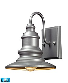 Marina 1 Light Outdoor Sconce in Matte Silver - LED Offering Up To 800 Lumens (60 Watt Equivalent)