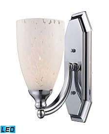 1 Light Vanity in Polished Chrome and Snow White Glass - LED Offering Up To 800 Lumens (60 Watt Equivalent)