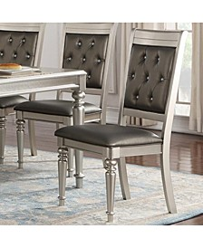 Rubber Wood Dining Chair with Diamond Tufted Back, Set of 2